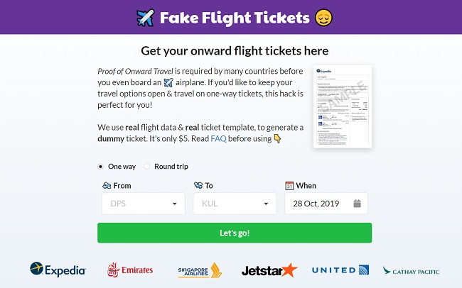 Fake Airline Tickets