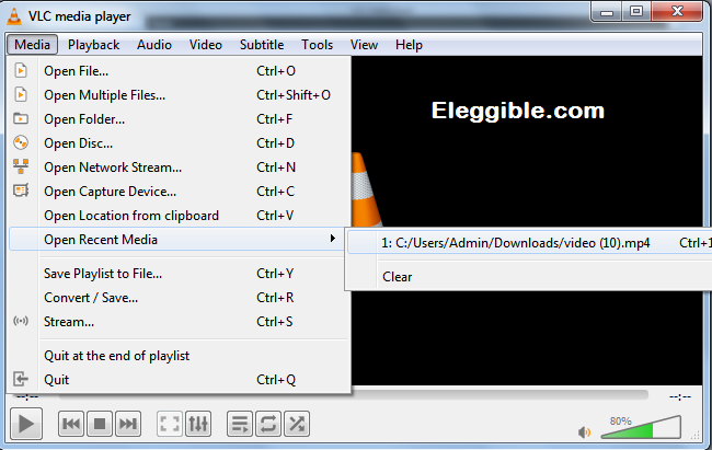VLC Clear history