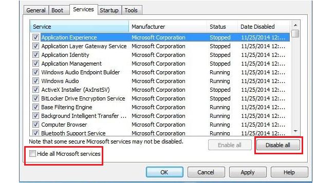 Hide all Microsoft services checkbox option