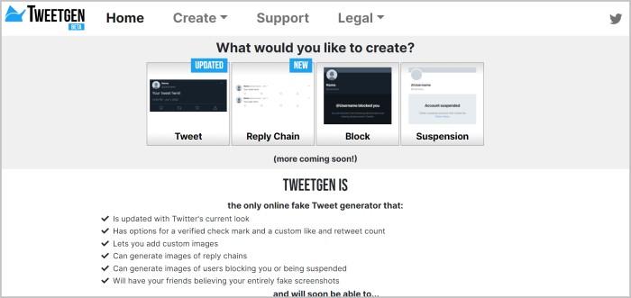 Tweetgen fake tweet generator