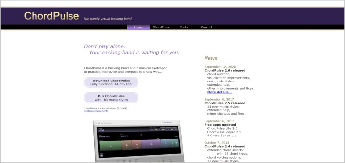 ChordPulse free songwriting software