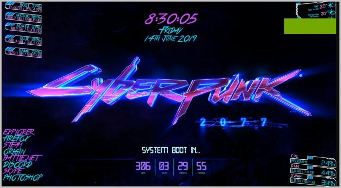Cyberpunk 2077 best rainmeter skins