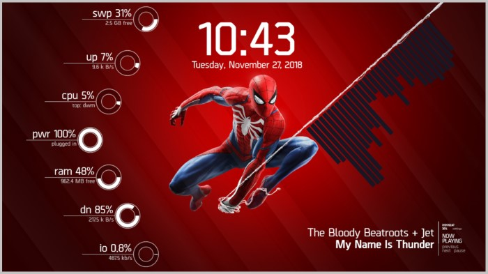 Spiderman cool rainmeter layouts
